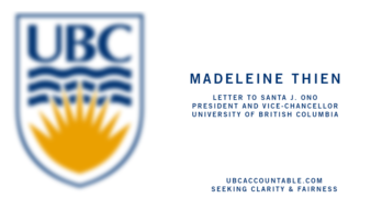 Madeleine Thien's Letter To The President Of UBC