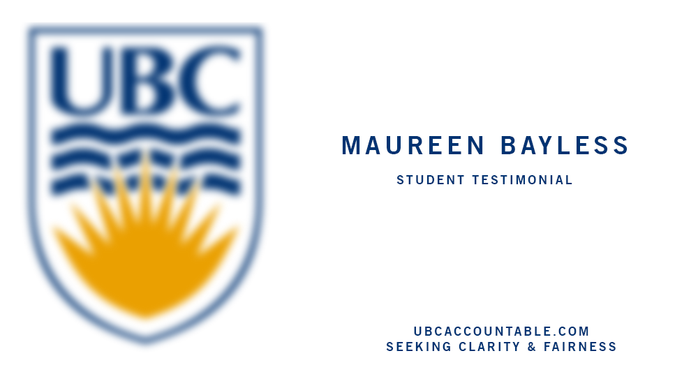 maureen bagless UBC testimonial about Steven Galloway UBC accountable